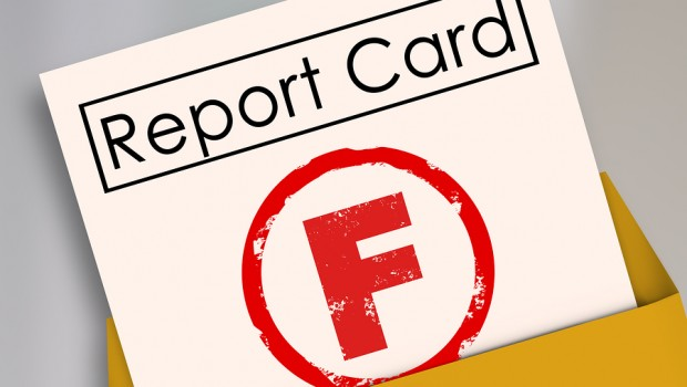 Letter F grade report card rating terrible, bad, poor preformanc
